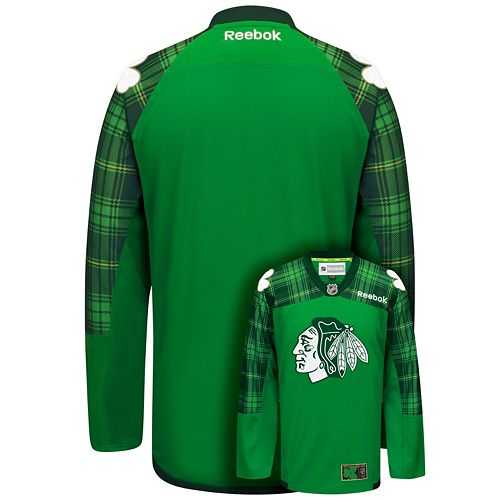 Men's Reebok Chicago Blackhawks Saint Patrick's Day Tartan Plaid Jersey