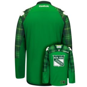 Men's Reebok New York Rangers Saint Patrick's Day Tartan Plaid Jersey