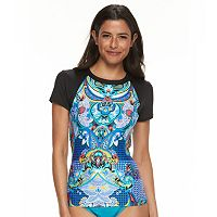Women's Apt. 9® Printed Short Sleeve Rash Guard Top