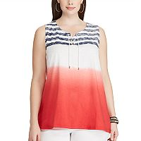 Plus Size Chaps Dip-Dye Striped Tank