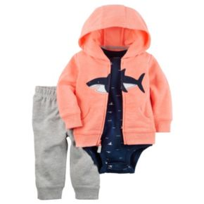 Baby Boy Carter's Shark Hooded Sweatshirt, Print Bodysuit & Jeggings Set