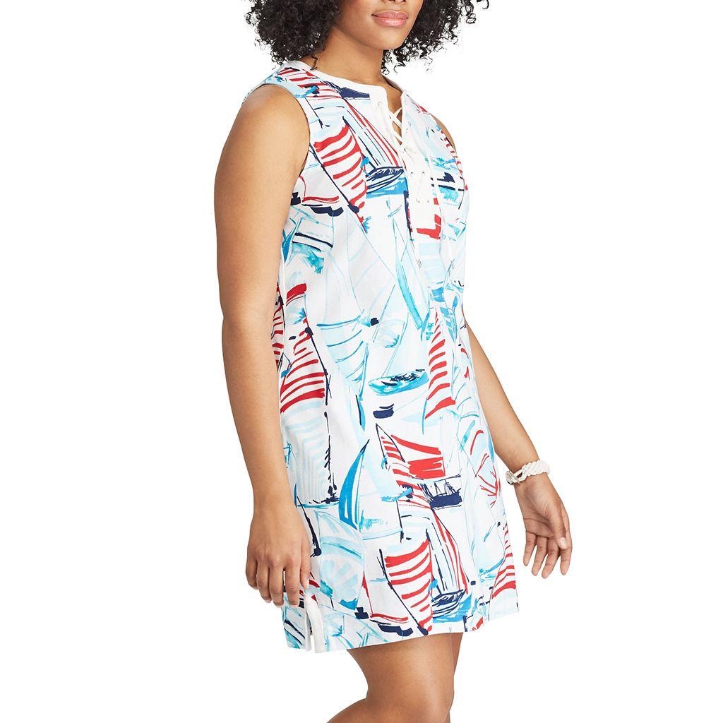 Plus Size Chaps Sailboat Lace-Up Dress