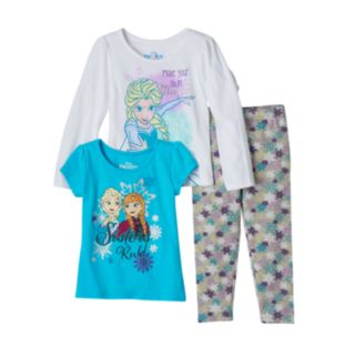 Disney's Frozen Anna & Elsa Toddler Girl Long Sleeve Tee, Short Sleeve Tee & Leggings Set