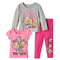 Toddler Girl Paw Patrol Skye Long Sleeve & Short Sleeve Tees & Leggings Set