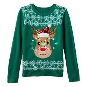 girls 7 16 its our time light up reindeer ugly christmas sweater