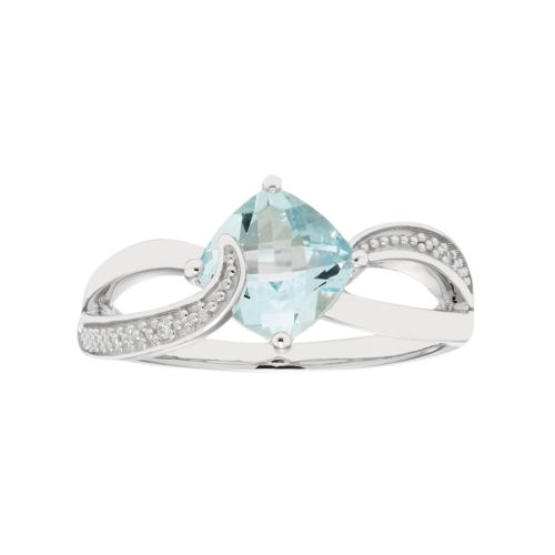 Sterling Silver Aquamarine & Diamond Accent Cushion Bypass Ring