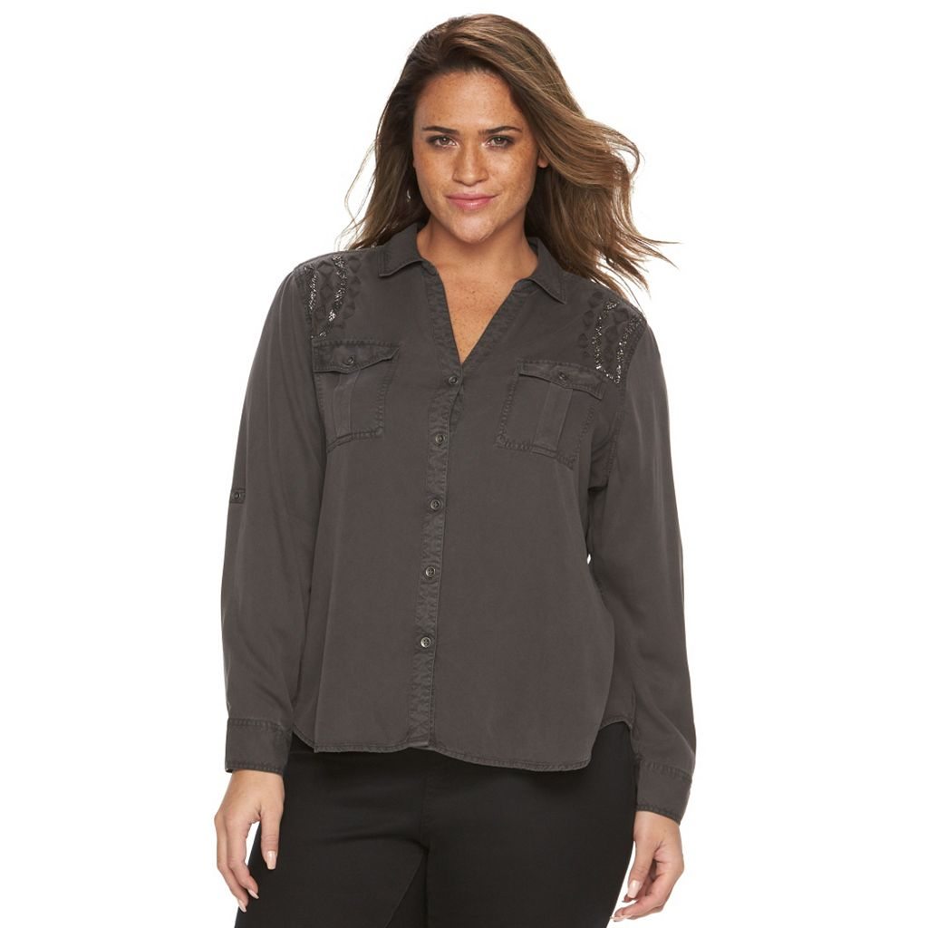 Plus Size Rock & Republic® Embellished Roll-Tab Shirt