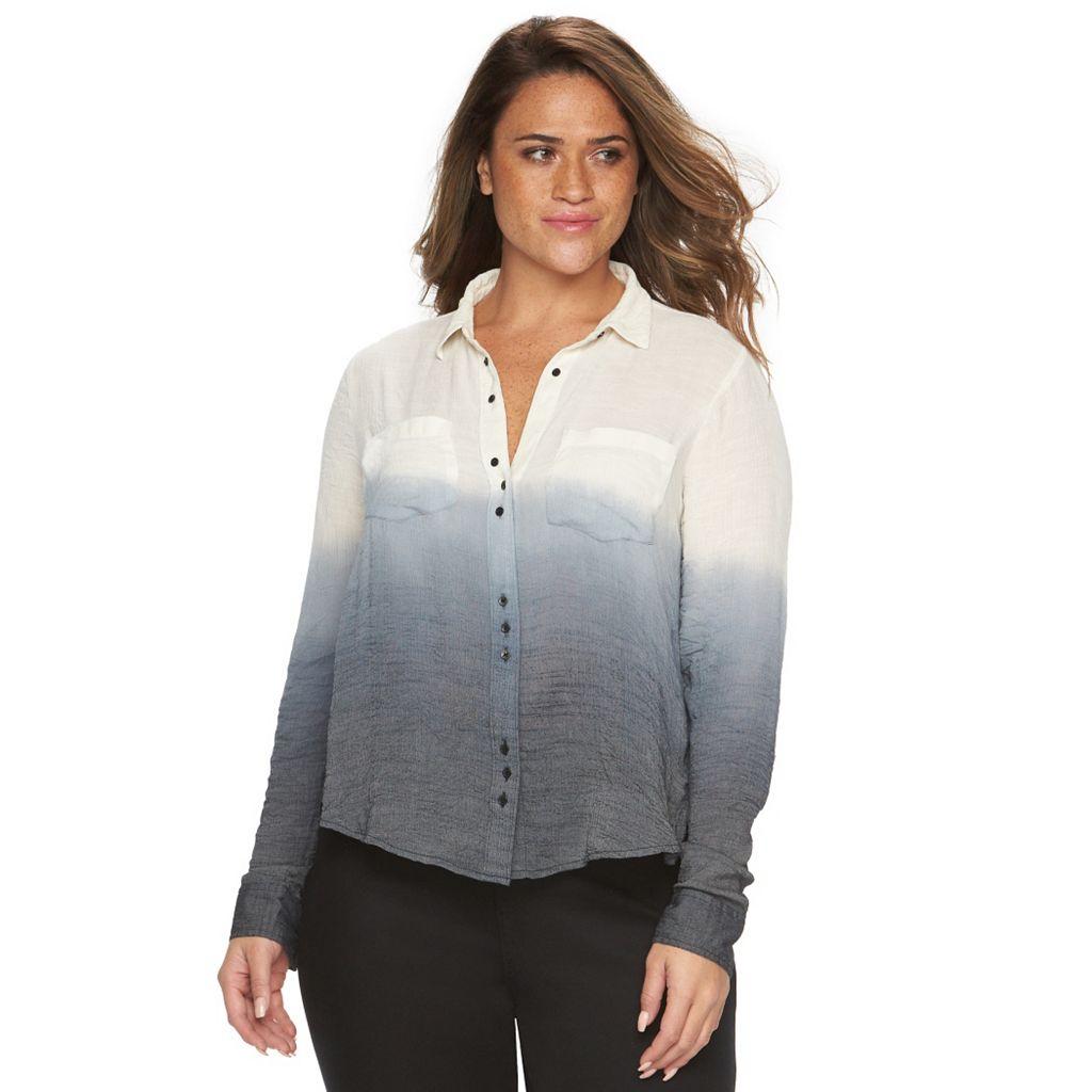 Plus Size Rock & Republic® Gauze Dip-Dye Shirt