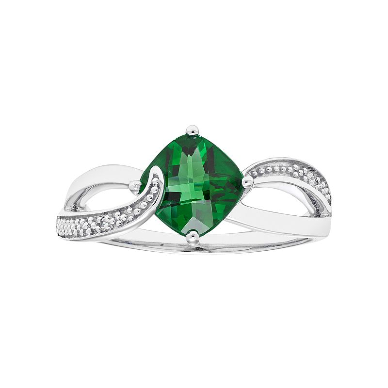 Sterling Silver Lab Created Emerald & Diamond Accent Cushion Bypass Ring, Women's, Size: 7, Green