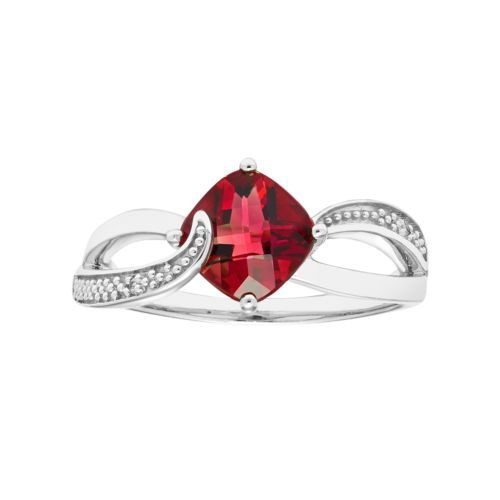 Sterling Silver Lab Created Ruby & Diamond Accent Cushion Bypass Ring
