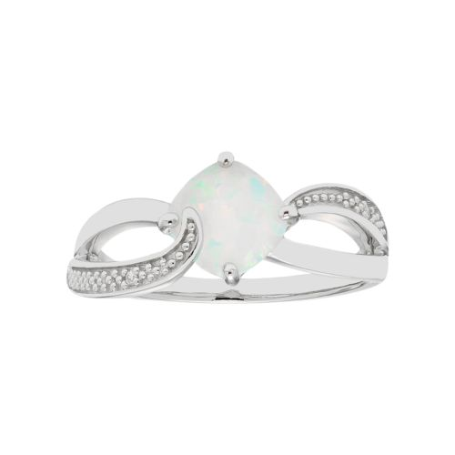 Sterling Silver Lab Created Opal & Diamond Accent Cushion Bypass Ring
