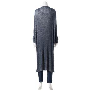 Plus Size Rock & Republic® Ribbed Tie Front Long Cardigan
