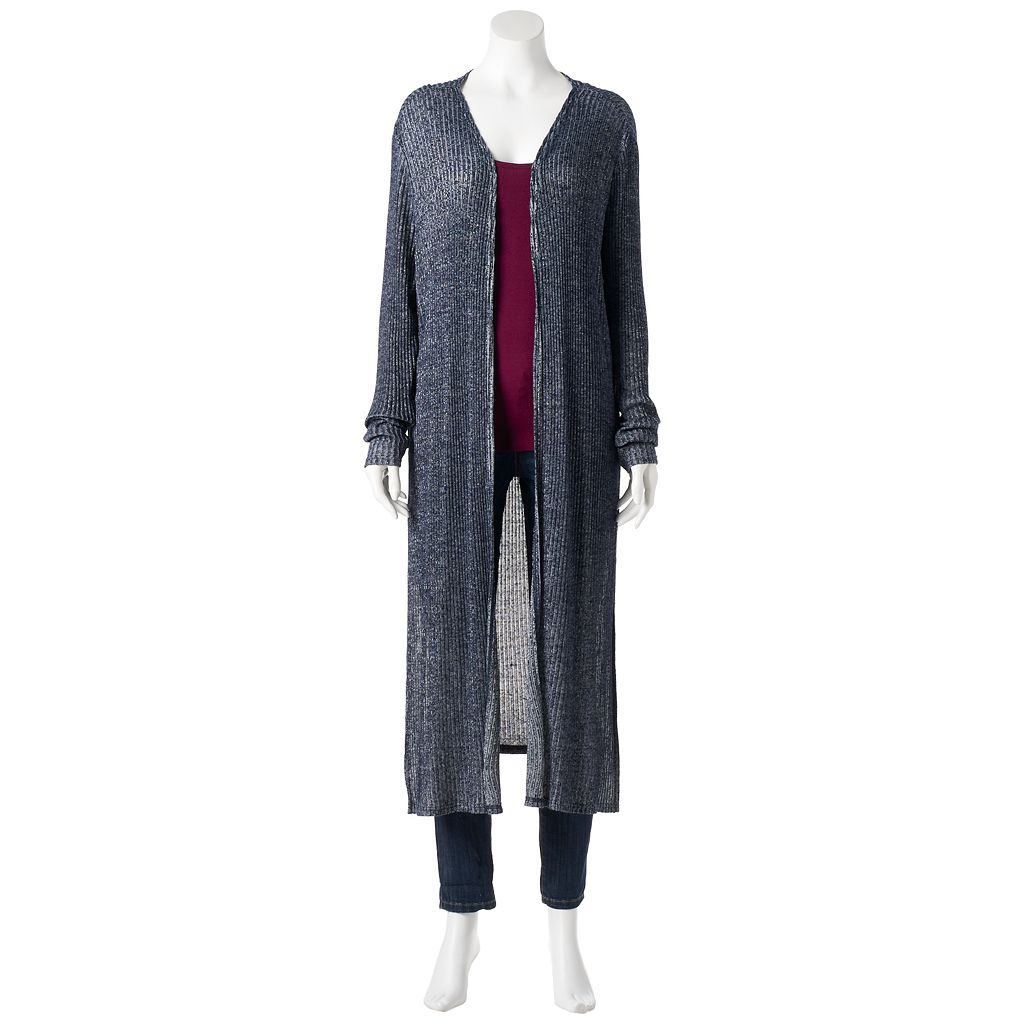 Plus Size Rock & Republic® Ribbed Tie Front Long Cardigan