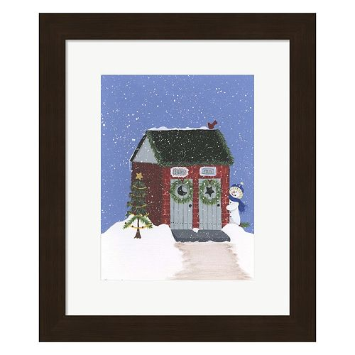 Metaverse Art Brick Outhouse Framed Christmas Wall Art