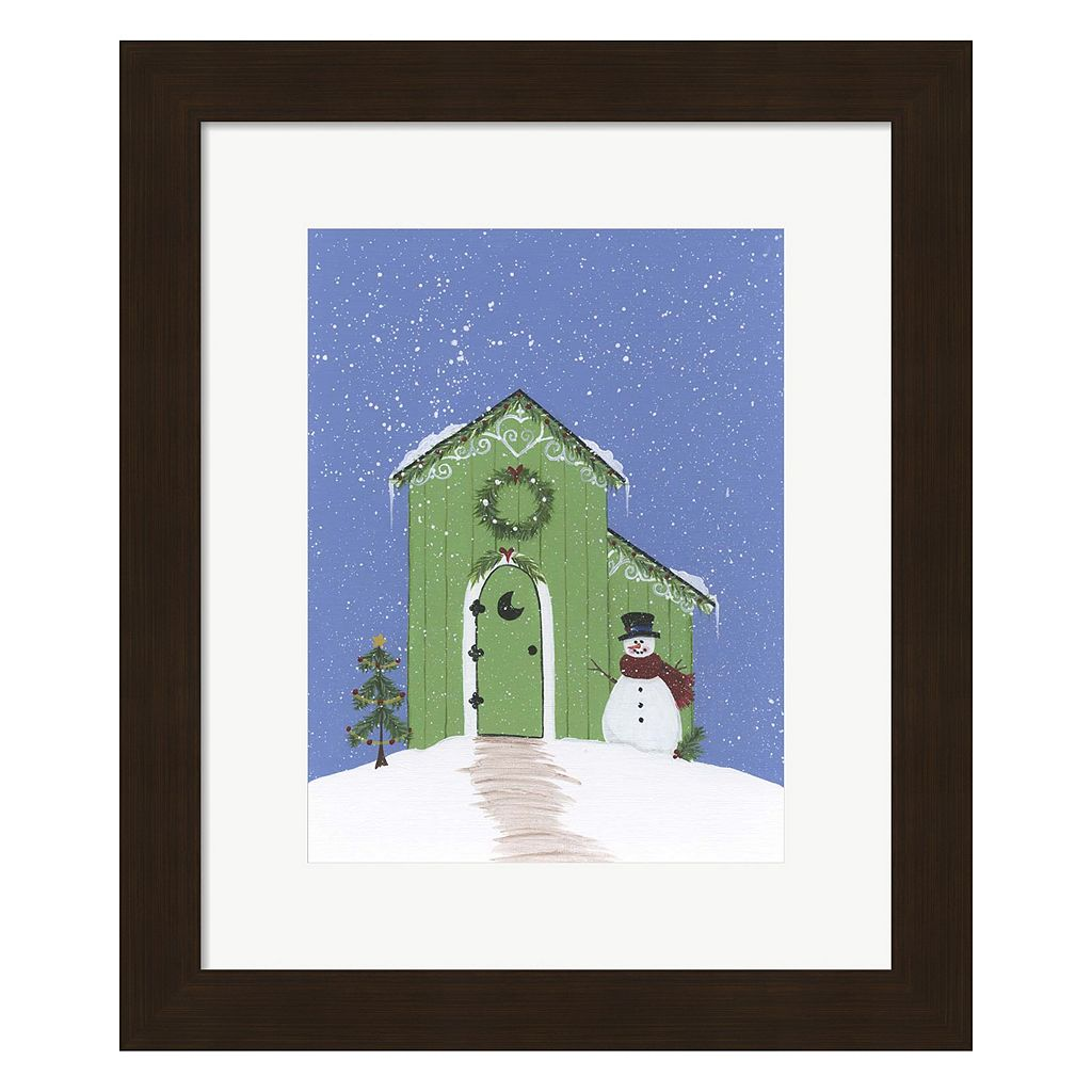 Metaverse Art Light Green Outhouse Framed Christmas Wall Art