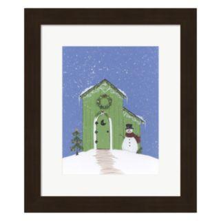 Metaverse Art Light Green Outhouse Framed Christmas Wall Art