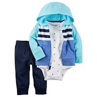 Baby Boy Carter's Striped Hooded Sweatshirt, Nautical Bodysuit & Pants Set