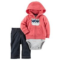 Baby Boy Carter's Dog Hooded Sweatshirt, Striped Bodysuit & Jeggings Set
