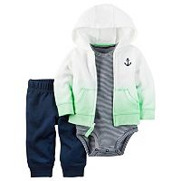 Baby Boy Carter's Anchor Hooded Sweatshirt, Striped Bodysuit & Pants Set