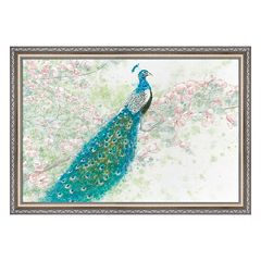 Metaverse Art Spring Peacock I Pink Flowers Framed Wall Art