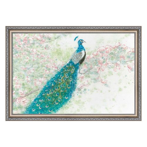 Metaverse Art Spring Peacock I Pink Flowers Framed Wall Art