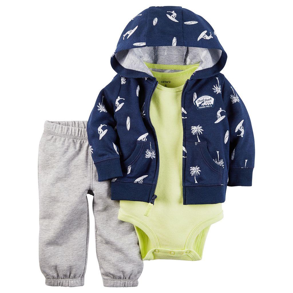 Baby Boy Carter's Surfer Hooded Sweatshirt, Solid Bodysuit & Pants Set