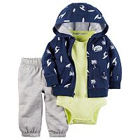 Baby Boy Carter's Surfer Hooded Sweatshirt, Solid Bodysuit & Pants Set