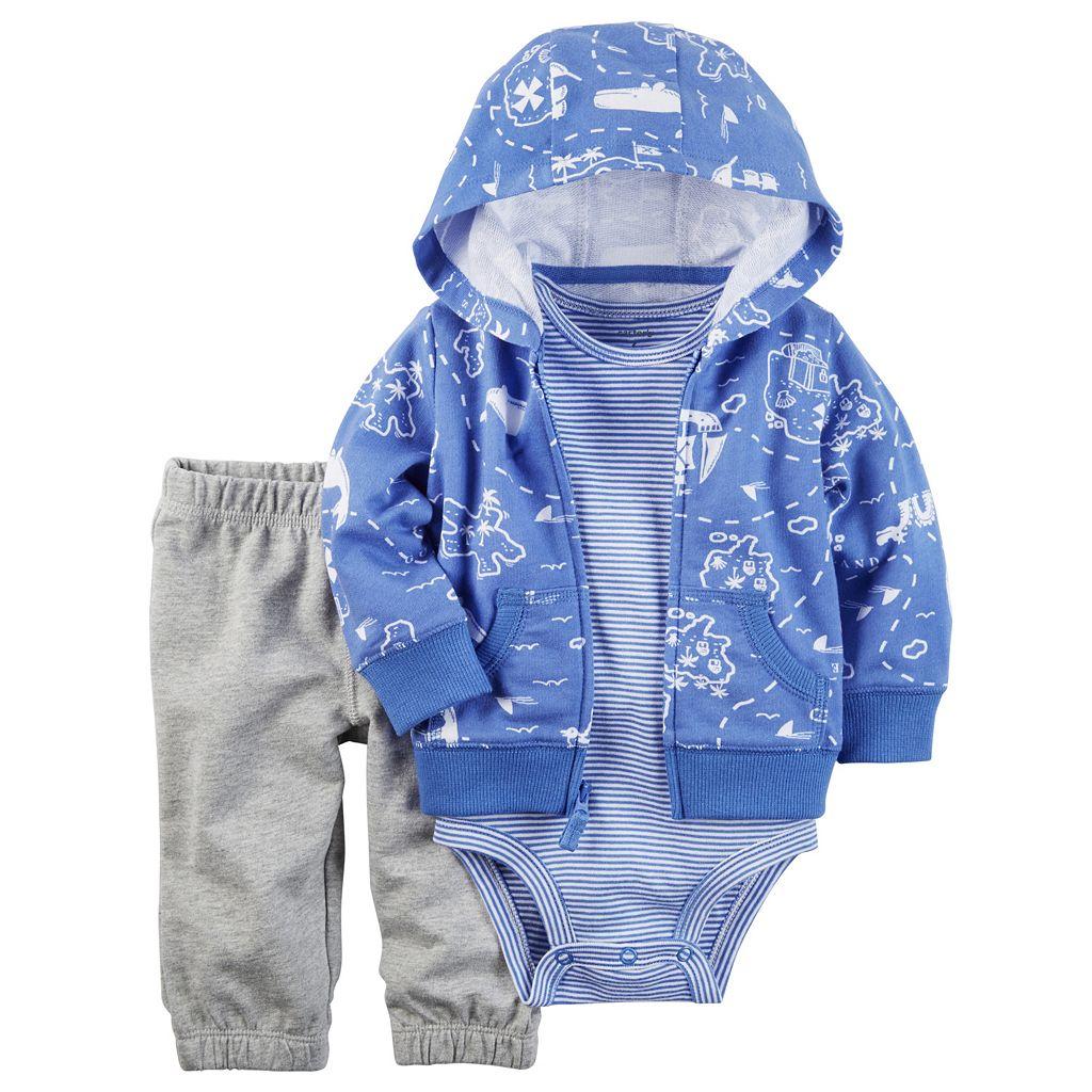 Baby Boy Carter's Treasure Island Hooded Sweatshirt, Striped Bodysuit & Pants Set