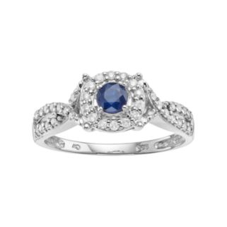 I Promise You Sterling Silver Sapphire & 1/4 Carat T.W. Diamond Halo Promise Ring