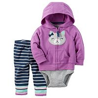 Baby Girl Carter's Kitten Cardigan, Bodysuit & Striped Pants Set