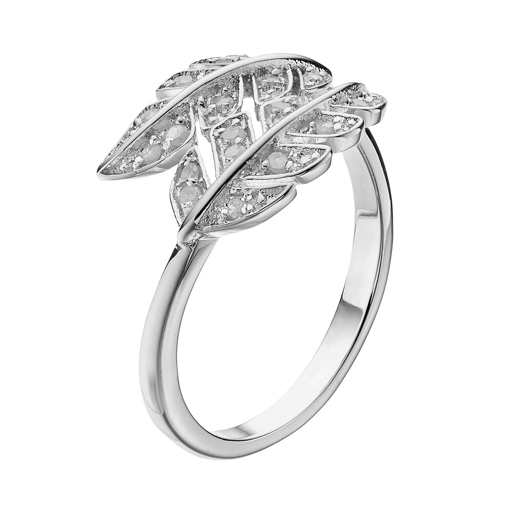 Sterling Silver 1/4 Carat T.W. Diamond Leaf Ring