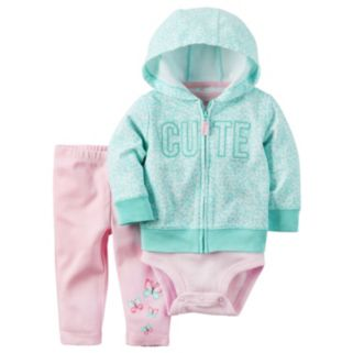 "Baby Girl Carter's ""Cute"" Cardigan, Bodysuit & Butterfly Pants Set"