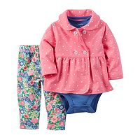 Baby Girl Carter's Polka Dot Jacket, Bodysuit & Floral Pants Set