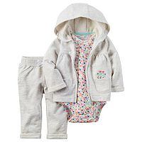 Baby Girl Carter's Cardigan, Floral Bodysuit & Pants Set