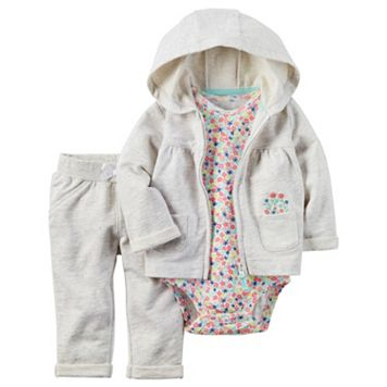 Baby Girl Carter's Cardigan, Floral Bodysuit & Pants Set