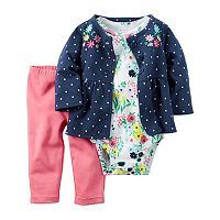 Baby Girl Carter's Polka Dot Jacket, Floral Bodysuit & Pants Set