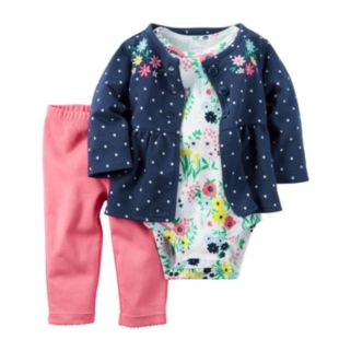 Baby Girl Carter's Polka Dot Jacket, Floral Bodysuit & Pants Set