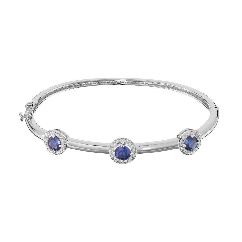 Sterling Silver Lab-Created Sapphire & 1/4 Carat T.W. Diamond Halo Bangle Bracelet