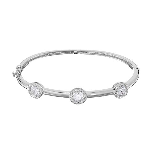 Sterling Silver Lab-Created White Sapphire & 1/4 Carat T.W. Diamond Halo Bangle Bracelet