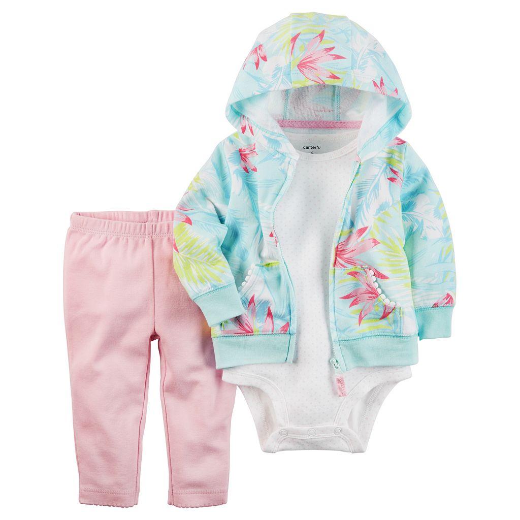 Baby Girl Carter's Tropical Sweatshirt, Bodysuit & Leggings Set