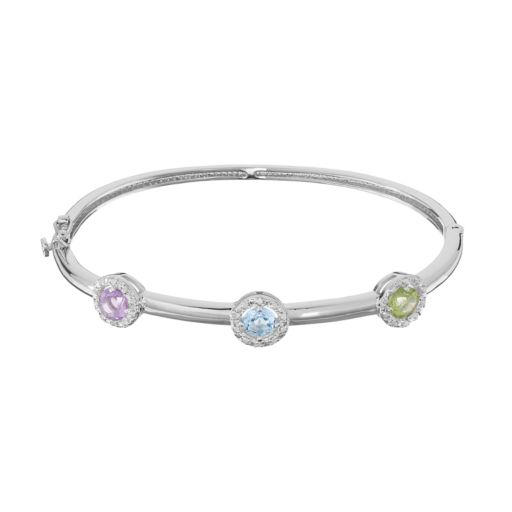 Sterling Silver Gemstone & 1/4 Carat T.W. Diamond Halo Bangle Bracelet