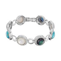 Sterling Silver Gemstone Cabochon & 1/4 Carat T.W. Diamond Circle Link Bracelet
