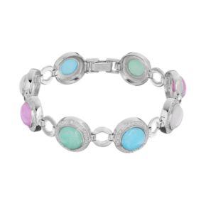 Sterling Silver Jade Cabochon & 1/4 Carat T.W. Diamond Circle Link Bracelet
