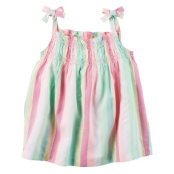Toddler Girl Carter's Woven Multi-Colored Striped Bow Tank Top