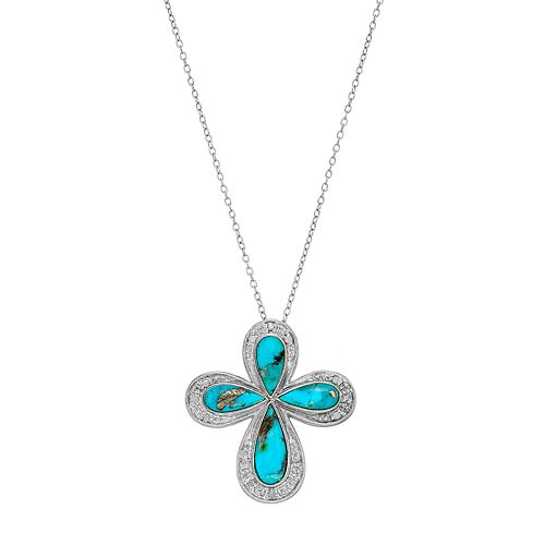 Sterling Silver Simulated Turquoise & 1/10 Carat T.W. Diamond Cross Pendant