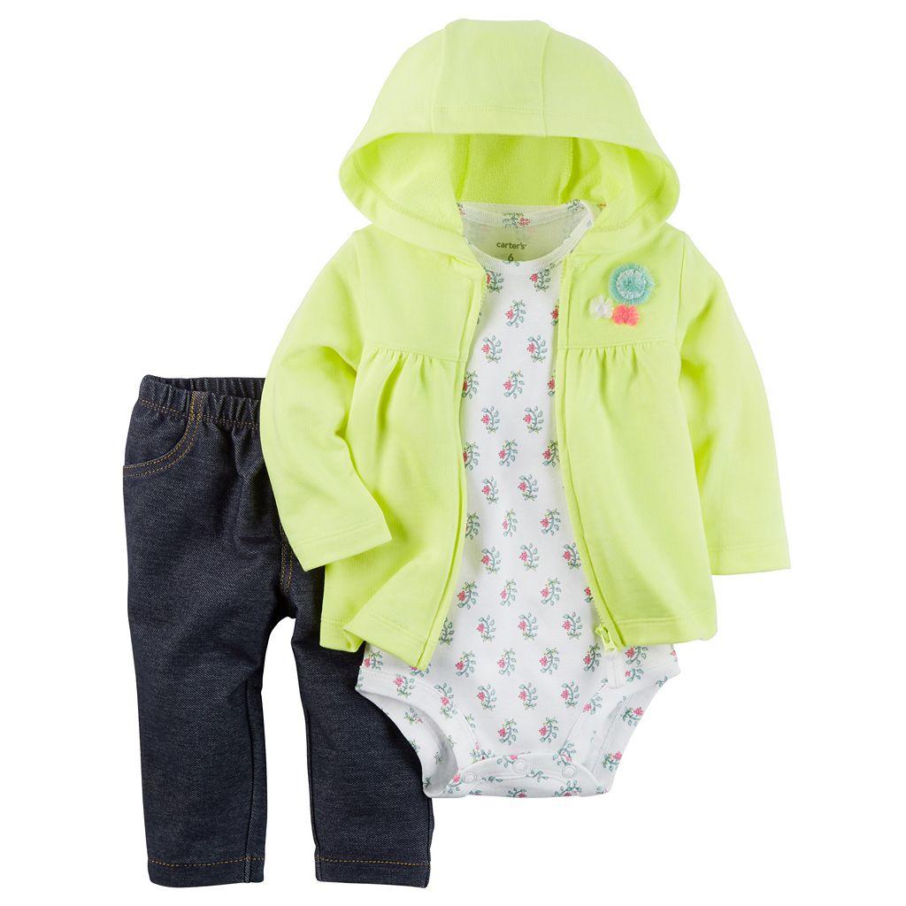 Baby Girl Carter's Rosette Sweatshirt, Floral Bodysuit & Jeggings Set