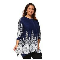 Plus Size White Mark Medallion Shark-Bite Tunic