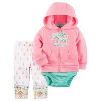 Baby Girl Carter's Elephant Sweatshirt, Bodysuit & Paisley Leggings Set