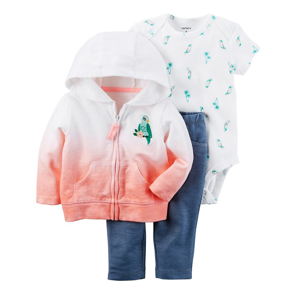 Baby Girl Carter's Dip-Dye Sweatshirt, Bird Bodysuit & Jeggings Set