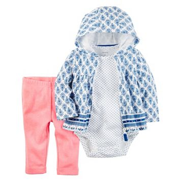 Baby Girl Carter's Hooded Sweatshirt, Polka-Dot Bodysuit & Leggings Set